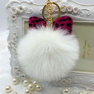 White Pink Leopard Bow Pompom Keychain